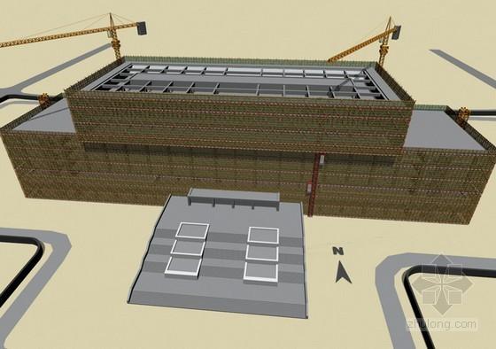 [天津]框架剪力墙结构图书馆工程施工组织设计(210页技术标)-解雇封顶效果图