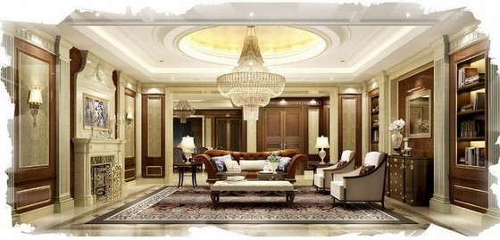 [佛山]高层住宅区奢侈欧式四居室样板间设计方案客厅效果图
