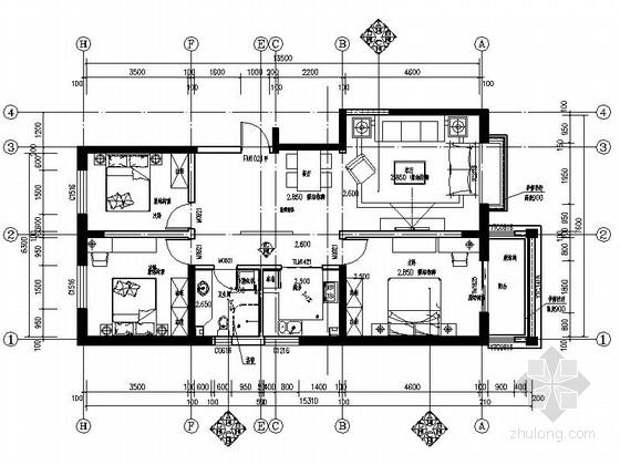 98㎡三居室样板间室内装修CAD施工图(含效果图)