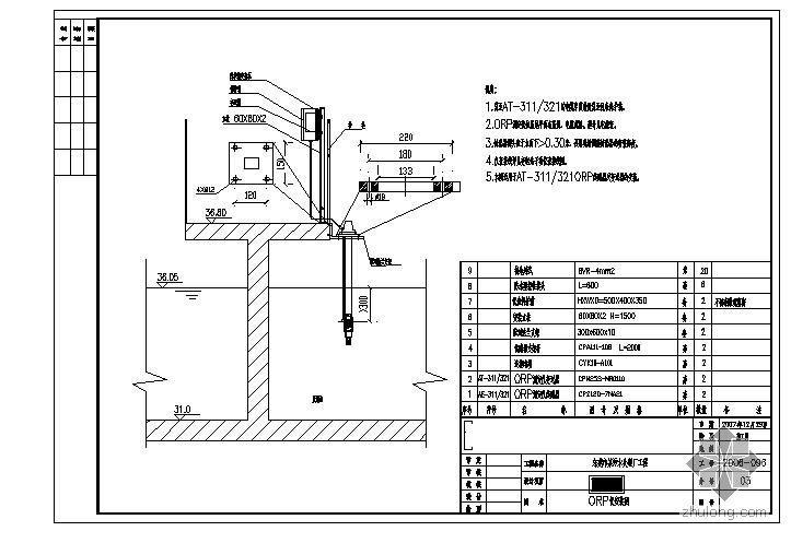 东莞市某污水处理厂工程氧化沟自控仪表安装图
