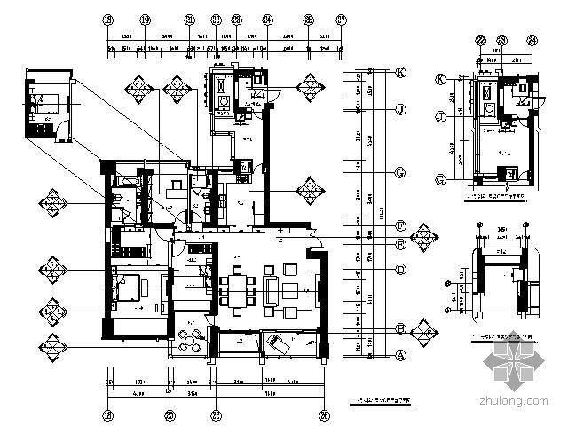 180㎡精装修房三居室施工图