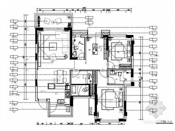 [惠州]温馨现代风格三居室样板间室内装修图(含效果)