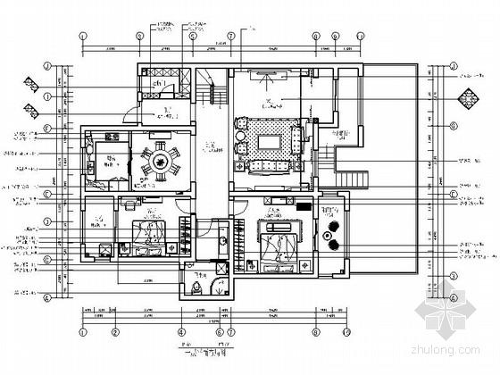 [河南]核心区住宅小区简欧三居室样板房室内装修施工图(含效果)