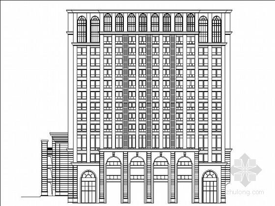 [成都]三段式处理风格连廊式双塔办公楼建筑施工图(知名设计院)