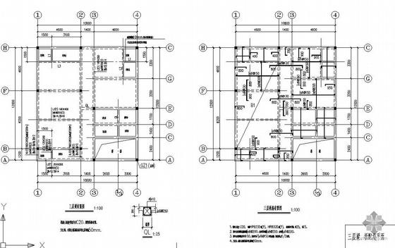 某三层农村住宅楼结构图