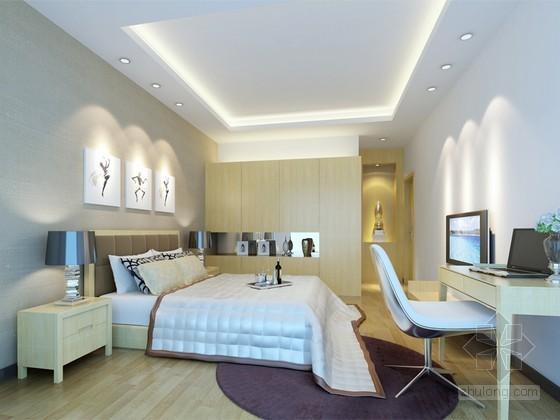 现代卧室效果图3d模型下载