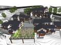民族风吊脚楼酒店建筑群sketchup模型