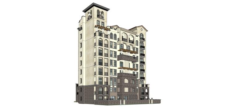 欧式风格一梯两户住宅建筑SU模型