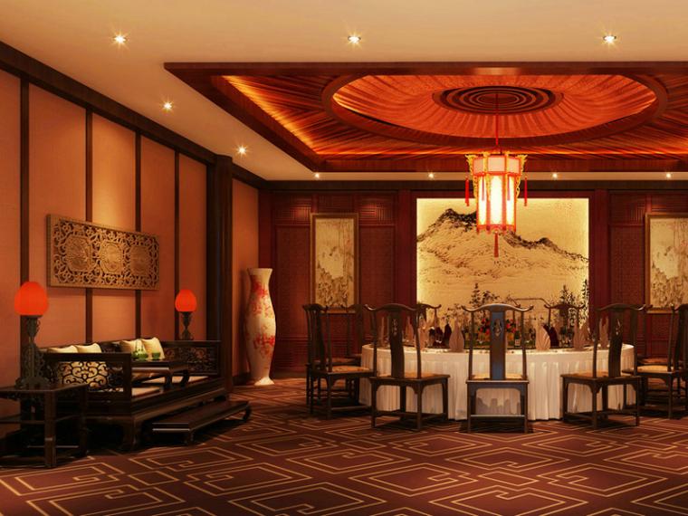 VIP大包厢3d模型资料下载-中式饭店包厢3D模型下载