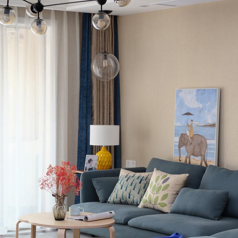 88㎡清爽北欧风『丹鹿的精致生活』-客厅采用整体米灰色系,让整个空第1张图片