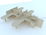 组合办公桌3D模型下载