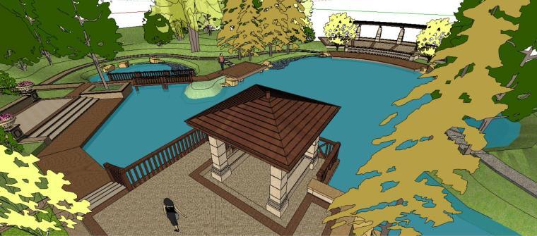 小游园庭院景观设计模型-场景一
