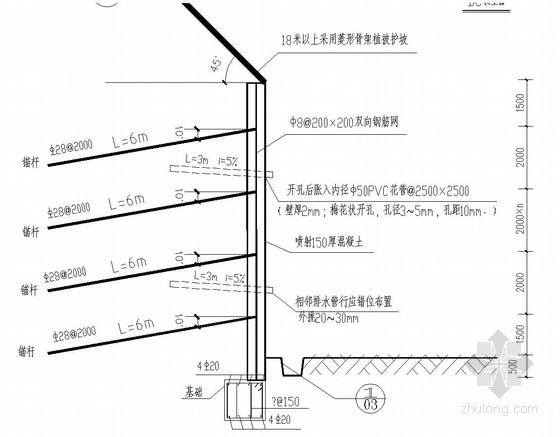 边坡喷锚及毛石砌体挡土墙支护结构施工图