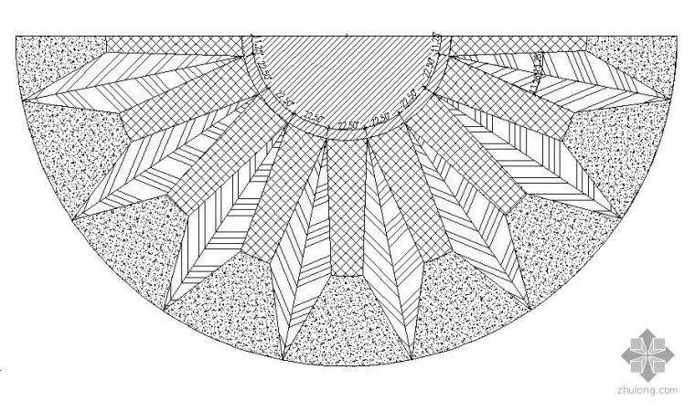 半圆形入口广场铺装详图