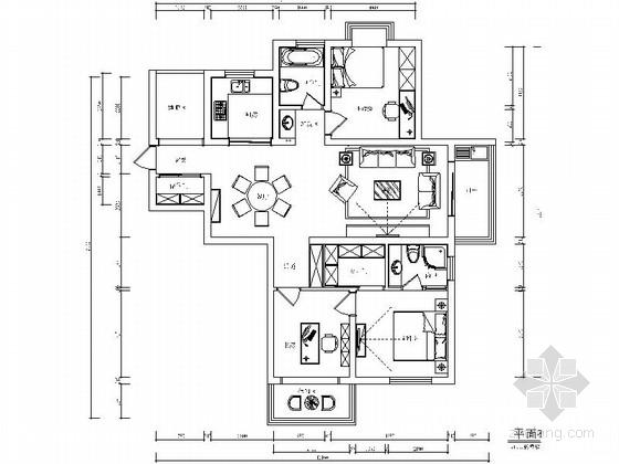 清新风情现代简约三居室样板间装修施工图(含效果)