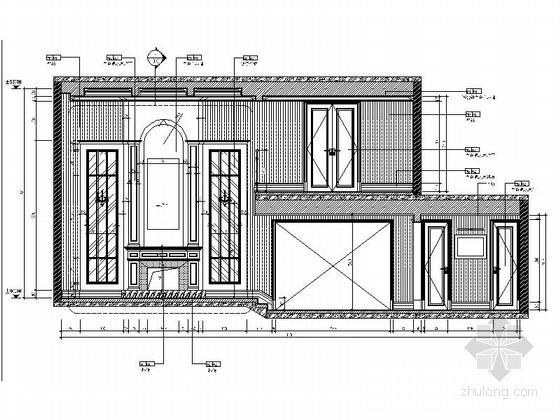 精品现代三层别墅样板间室内装修施工图客厅走道立面图