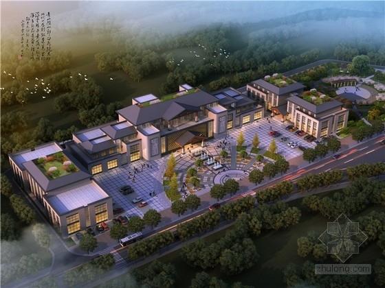 [重慶]新中式多層辦公樓及配套設施建筑方案圖(原創設計含效果圖)