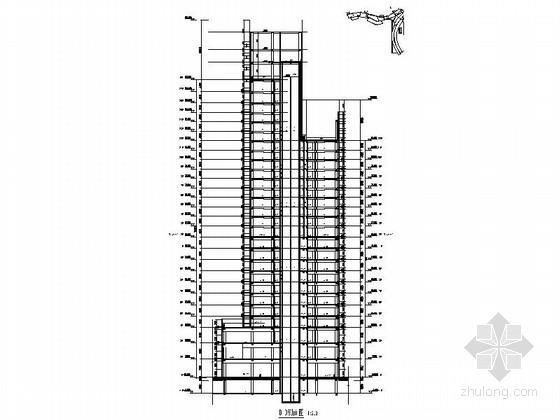 [福建]113米现代风格全球连锁知名酒店建筑-21层现代风格全球连锁知名酒店剖面图