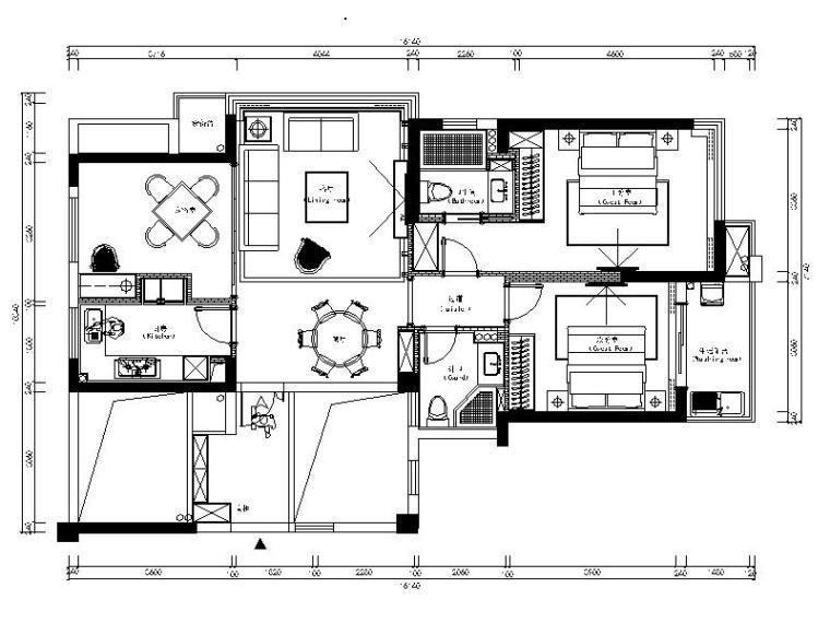 [乐清]全套的现代风格二居室设计施工图(含效果图)