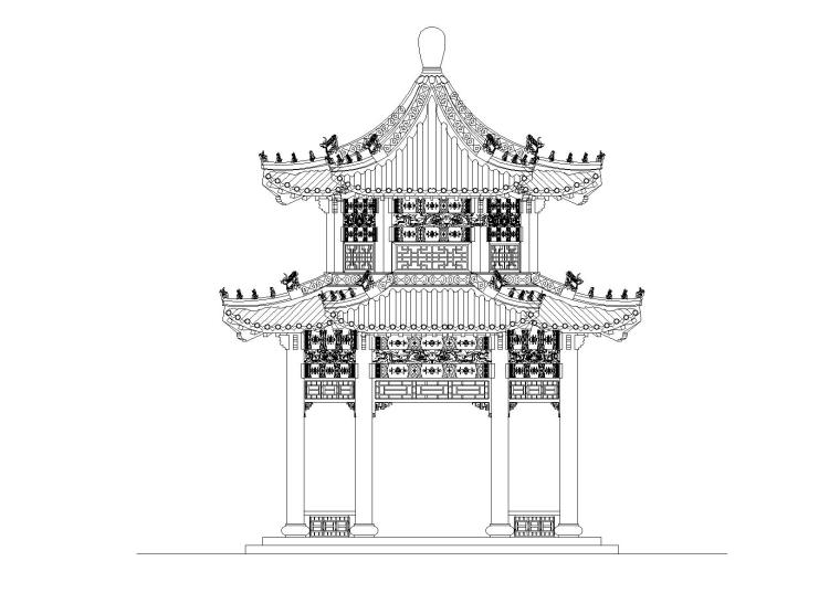 重檐六角亭CAD图纸