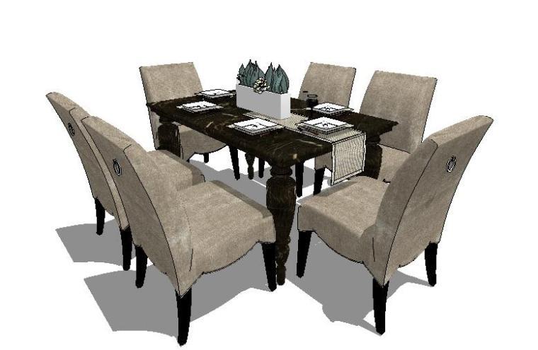 60套餐桌餐椅SU组合模型图集