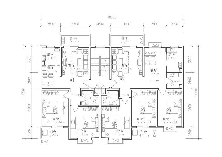 65种多层住宅经典户型图1-法式联排别墅户型CAD专题 2019年法式联