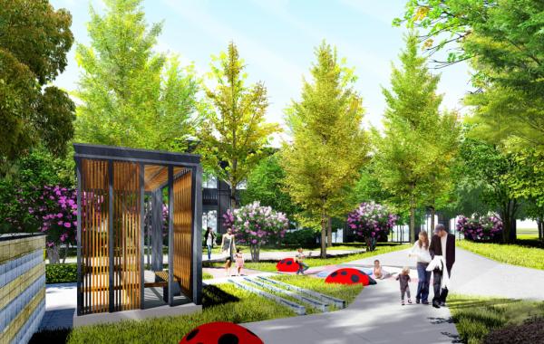 [江苏]极简折线型现代商住豪宅社区景观设计方案
