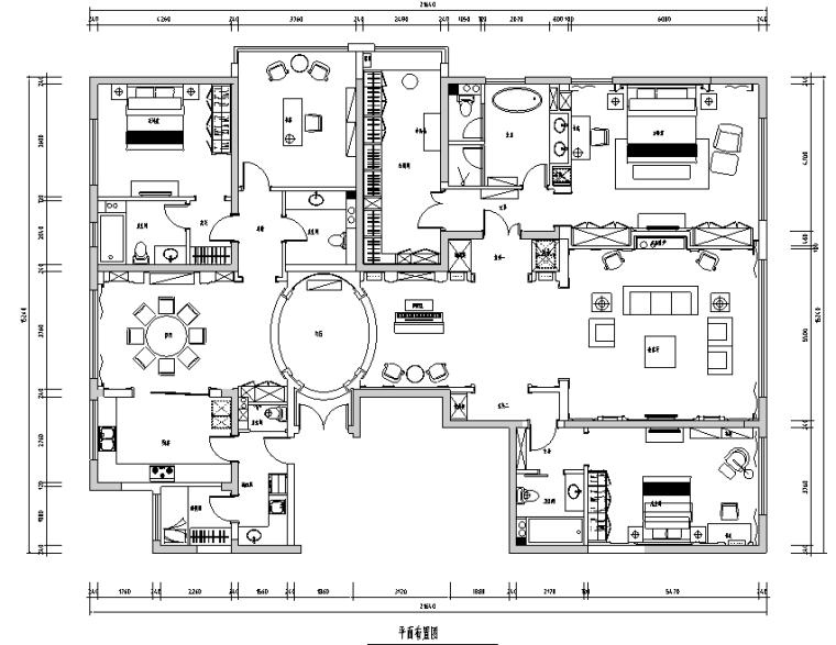 [北京]美式风格300平米公寓设计施工图(附效果图)