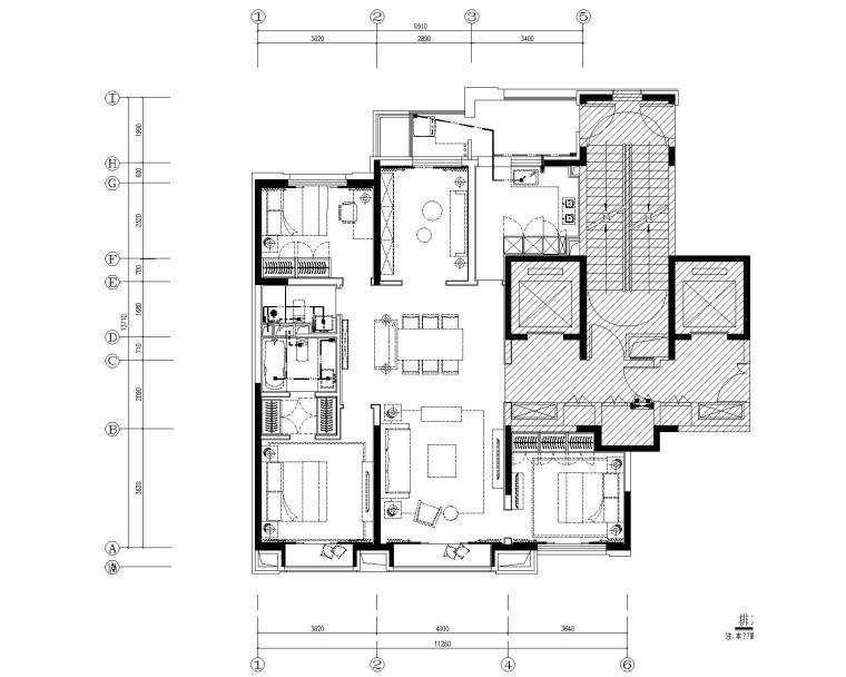 [北京]万科翡翠长安现代中式轻奢样板间设计方案+CAD全套施工图+物料书+效果图_3