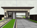 新中式大门精品景观模型设计