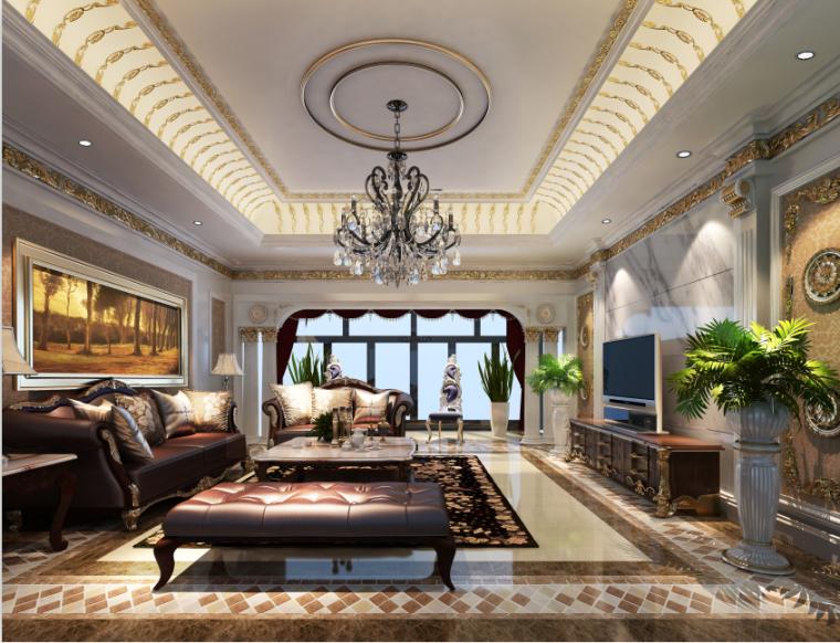 一套完整的欧式家装设计方案效果图(含3D模型,材质,光域网)