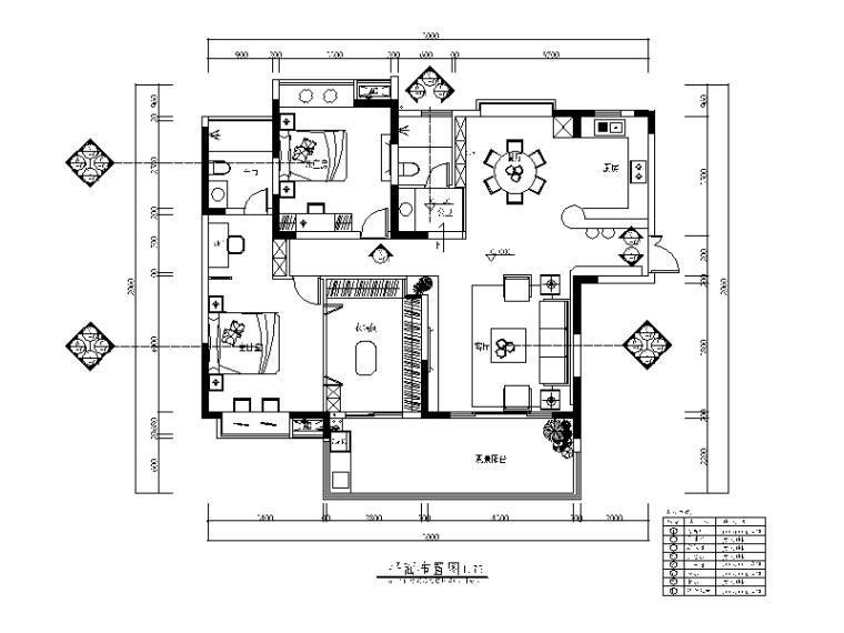清新简约样板房设计CAD施工图(含效果图)