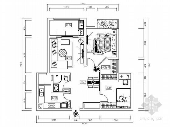 [南京]温馨浪漫现代两居室装修施工图(含效果)