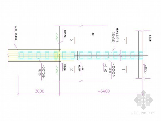 逆作法基坑600灌注桩内插350x350钢格构柱结构图