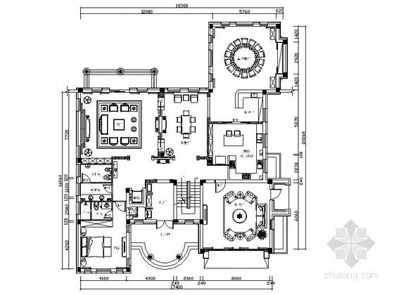 [长春]诗意大气中式复古别墅室内设计cad施工图