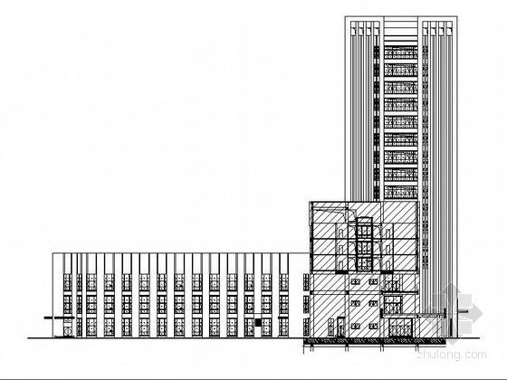 U型玻璃幕墙隔断资料下载-[江苏]L型石材玻璃幕墙市级综合性人力资源中心建筑施工图
