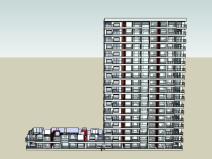 [上海]嘉定萬達廣場商住綜合體高層住宅建筑SU模型(含戶型模型)