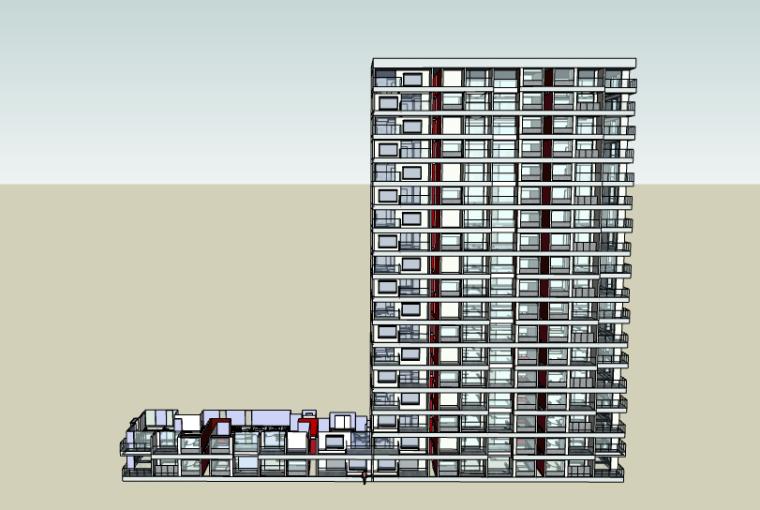 [上海]嘉定万达广场商住综合体高层住宅建筑SU模型(含户型模型)