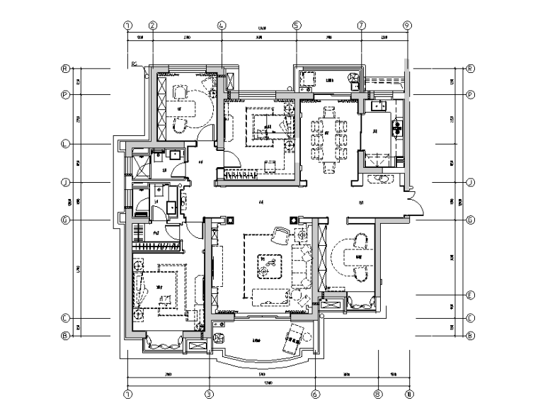 [上海]高档法式奢华样板房设计施工图(附效果图)