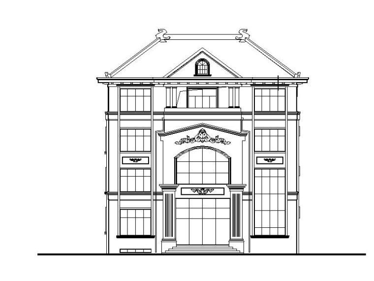 [四川]四层坡屋顶合院式别墅建筑施工图(16年含水暖电)