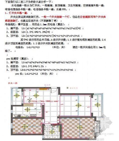 二室二厅装修水电安装工程工程量计算实例