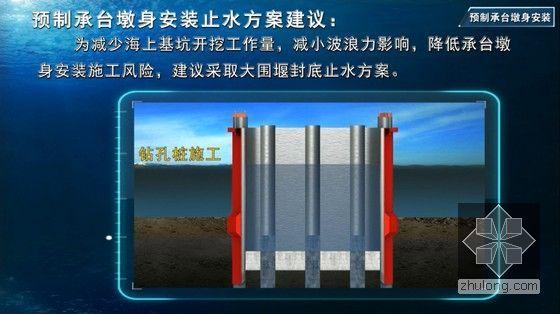 世界级跨海大桥工程标准化施工及管理三维动画演示(20分钟画面高清)-预制承台墩身安装止水方案