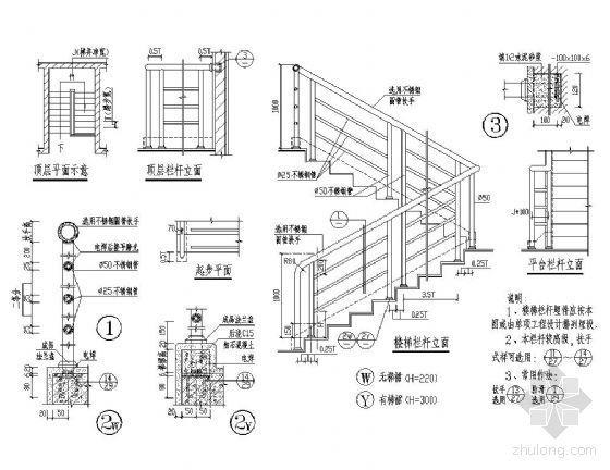 不锈钢楼梯栏杆详图Ⅲ