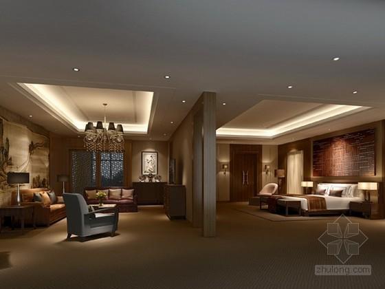 现代中式客房3d模型下载