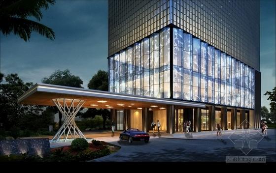 [深圳]龙华知名地产高档酒店式公寓设计装修方案图外观效果图