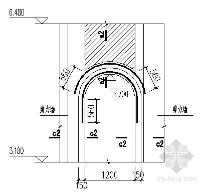 弧门窗上弧过梁详图4(用于八角窗处)