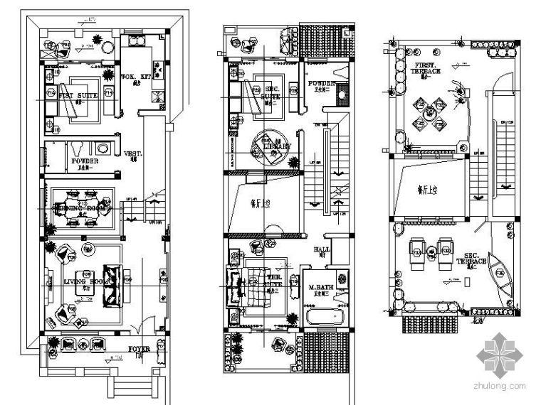 地中海风格三层样板别墅施工图(含效果)