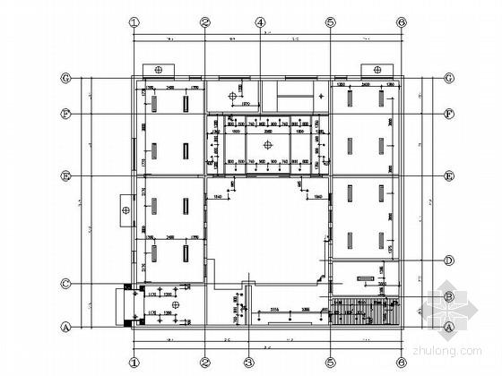 [河北]两层传统白墙黑瓦对称式四合院建筑设计施工图(含水暖电图纸)-两层传统白墙黑瓦对称式四合院建筑首层平面图