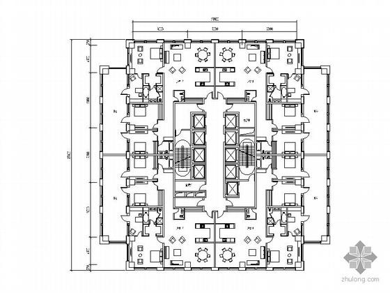 塔式高层一梯四户户型图