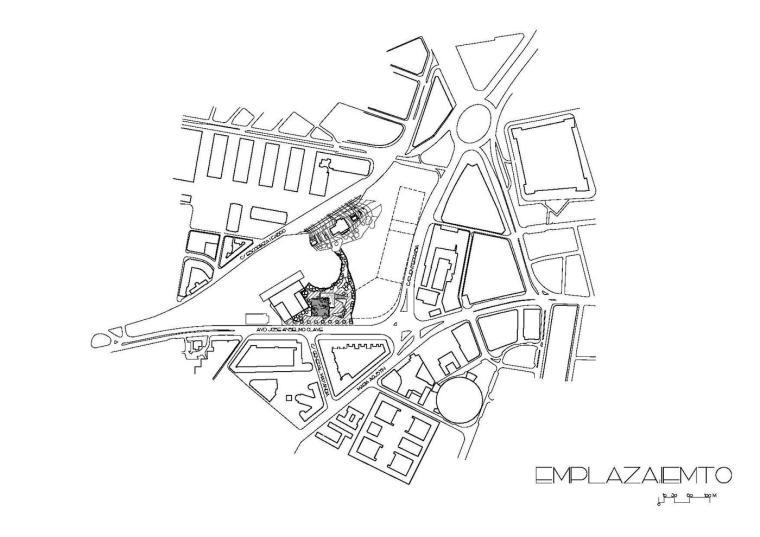 西班牙独特雕塑般构造的文化中心平面图(24)